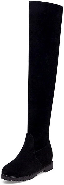 BalaMasa Womens Slouch Low-Heel Zipper Flatform Heighten Inside Black Suede Boots ABL09850 - 10 B(M) US