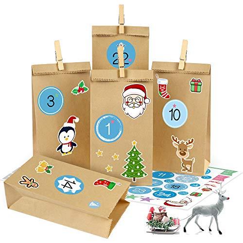 Bluelves Calendario Dell'avvento 2020, Avvento Calendario Avvento da Riempire, Sacchetti di Carta Kraft, Sacchetti di Natale con 1-24 Adesivi Numerici, 24 Clip
