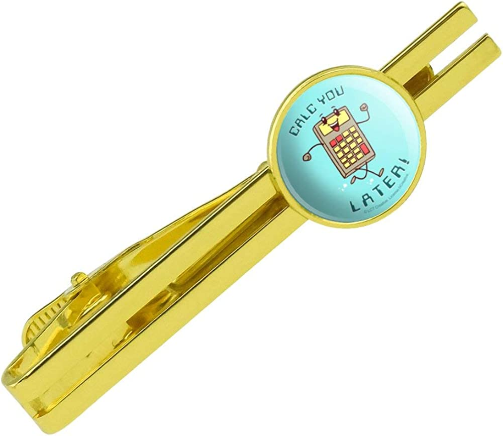 GRAPHICS & MORE Calc You Later Catch Calculator Funny Humor Round Tie Bar Clip Clasp Tack Gold Color Plated