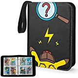 YINKE Case Binder for Pokemon Card, Game Cards, Holds Up to 400 Cards with 50 Premium 4-Pocket Page, Hard Organizer Carry Cover Storage Bag (Black)