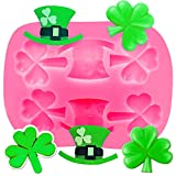 Shamrocks Silicone Mold, St Patrick's Day Silicone Mold,Irish Hat Silicone Mold Irish Baking Mold for Chocolate Candy, Sugar craft Cake Decoration, Cupcake Topper, Polymer Clay
