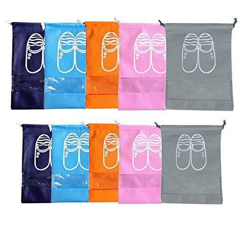 sylbx Sacs à Chaussures Voyage Non-tissé 10pcs Housse Chaussures Imperméable Antipoussière Sacs Chaussures Fenêtre Transparente Sac de Rangement, pour Bottes Talon Haut, Chaussures et Sandales(M/L)