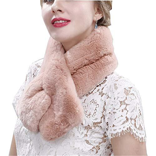 EVFIT Bufanda de invierno con cuello mullido y cálido estilo bufanda de invierno para mujer, bufanda estilo chal (color: rosa piel, tamaño: 80 x 12 cm)
