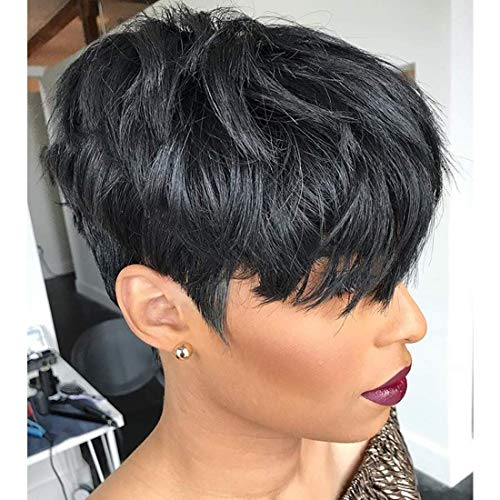 VRZ Short Straight Human Hair Wigs with Bangs Pixie Cut Wigs for Women 100% Remy Brazilian Hair Natural Black