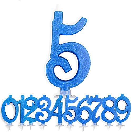 Candeline Compleanno Particolari Numeri Grandi BLU   Decorazione Torta Festa per Happy Birthday Bambino Ragazzo Uomo   Candele Topper Auguri Anniversario   Componi i tuoi Anni (Numero 5)