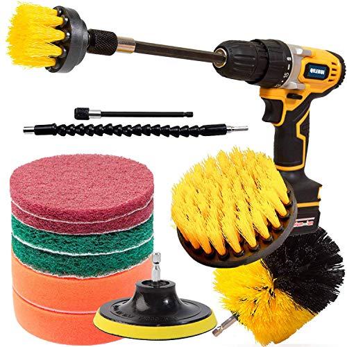 QILERUI Drill Power Lot de 13 brosses de nettoyage multi-usages pour surfaces de salle de bain, carrelage, joint, sol, surface de cuisine, brosse rotative avec 2 accessoires d'extension