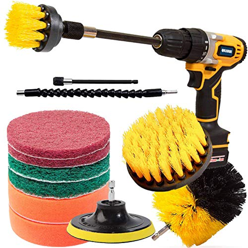 QILERUI - Spazzola per la pulizia della spazzola, 13 pezzi, multiuso per superfici del bagno, piastrelle della doccia, pavimento, superficie della cucina, spazzola rotante con 2 pezzi di estensione