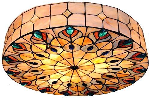 DALUXE Creative-Shell-Mosaik Decken-Lampe, Pfau-Endstück Europäischer wunderschöner ländlicher Stil Tiffany-Kunst-Lampen Runde Embedded Glass Restaurant Living Room Hotel Cafe Clothing Store 18