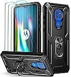 ivoler Funda para Motorola Moto G9 Play/Moto E7 Plus/Moto G9 con [Cristal Vidrio Templado Protector de Pantalla *3], Anti-Choque Carcasa con Anillo iman Soporte, Hard Silicona TPU Caso - Negro