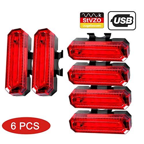 Fietsachterlicht (2 pak), USB, oplaadbaar, waterdicht, rood, hoge zichtbaarheid, led-achterlicht, geschikt voor elke racefiets/racefiets