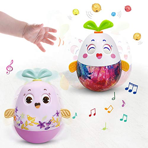 VATOS Baby Musical Toys, 2PCS Roly Poly Music Toys for 6 Month Babies Developmental Tumblers for 1 2 3 Year Old Girls & Boys Early Educational Infant Teething Toys Easter Eggs with Songs & Bell Rings