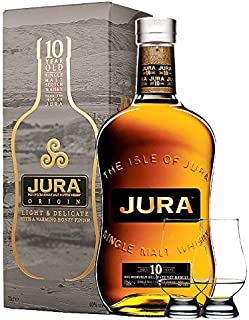 Isle of Jura 10 Jahre Single Malt Whisky 0,7 Liter  2 Glencairn Gläser