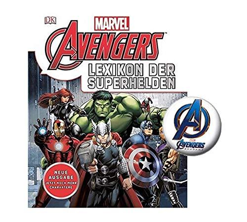 DK Verlag Marvel Avenger Kinder-Set | Lexikon der Superhelden ( ab 8 Jahren) + 1 Marvel Button