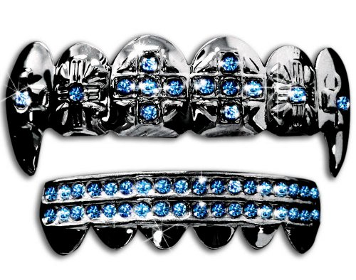 Big Dawgs Bling Hip Hop Gun Metal Cross Fangs Teeth Grillz Set - Blue Stones