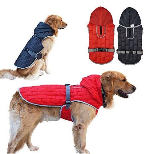 TVMALL Manteau de chien réversible Manteaux d'hiver pour chiens réfléchissant Sweat à capuche gros chien Veste de chien chaud Vêtements de sécurité Manteaux imperméables pour chiens Lavable en machine
