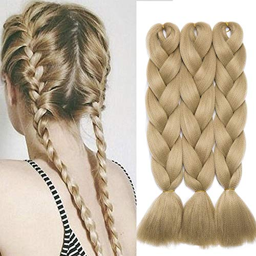 24'(60cm) SEGO 3PCS Extensiones de Pelo Sintético para Trenzas Africanas [Rubio Ceniza] Cabello Se Ve Natural sin Clip Crochet Braiding Twist Hair Extensions (300g)