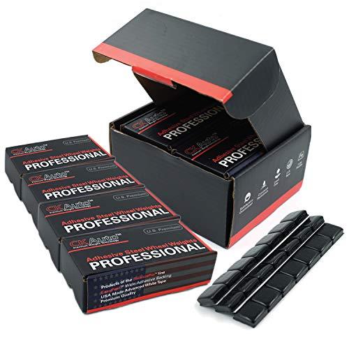 CKAuto 4 Boxes, 504 Pcs, 1/2oz, 0.5oz, Black, Adhesive Stick on Wheel Weights, 63oz/Box, US Quality