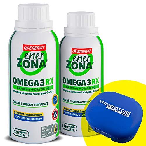 Enerzona Enervit Omega 3 RX, 2 confezioni da 120cpr + portapillole Vitaminstore Integratore Alimentare a base di olio di pesce per il Controllo del Colesterolo e Trigliceridi  ricco di EPA e DHA