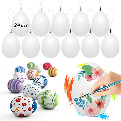 Wishstar Uovo di Pasqua, 24 Pezzi Uova di Pasqua Decorate, Uova di Pasqua con la Corda, Artigianato Pasquale, Uova di Pasqua da Appendere per Decorazioni e Regali