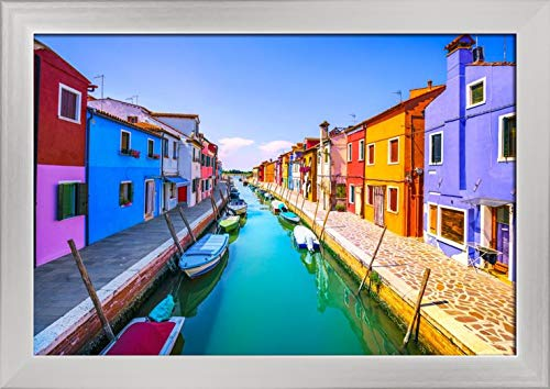 Venice, Italy - Famous Landmark of the Burano Island Canal, Colorful Houses, Boats 9020306 (18x12 Giclee Art Print, Gallery Framed, Silver Wood)
