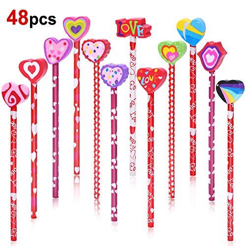 Konsait 2 Dozen (24) Valentine Pencils Assortment with Giant Eraser Topper Decorated with Love Hearts, Candies, Stars for Valentine's Day accessories Party Bag Goodie Bag Filler Favor Supplies Teacher