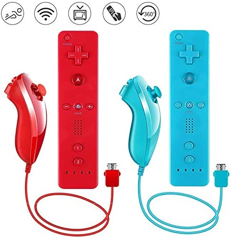 Lactivx 2 Packs Nunchuck and Wii Remote Controller with Silicone Case and Strap Compatible with product image
