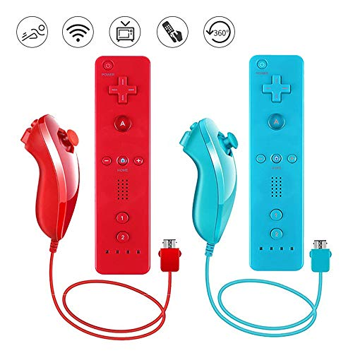 Lactivx 2 Packs Nunchuck and Wii Remote Controller with Silicone Case and Strap Compatible with Wii Wii U Console(Red and Blue)