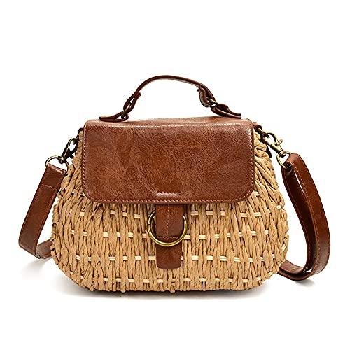 stråväska gris crossbody strand väska vardaglig vävning rotting handväskor