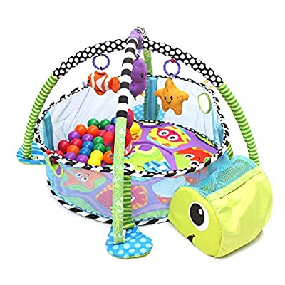 TAPCET Activity Gym & Ball Pit Baby Game Play Center Crawling Mat Development Station with 40 Balls & Hanging Toys for Infant Toddler Gift