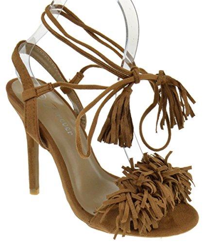 Rubina 57 Womens Fringe Open Toe High Heel Sandals Tan 7.5
