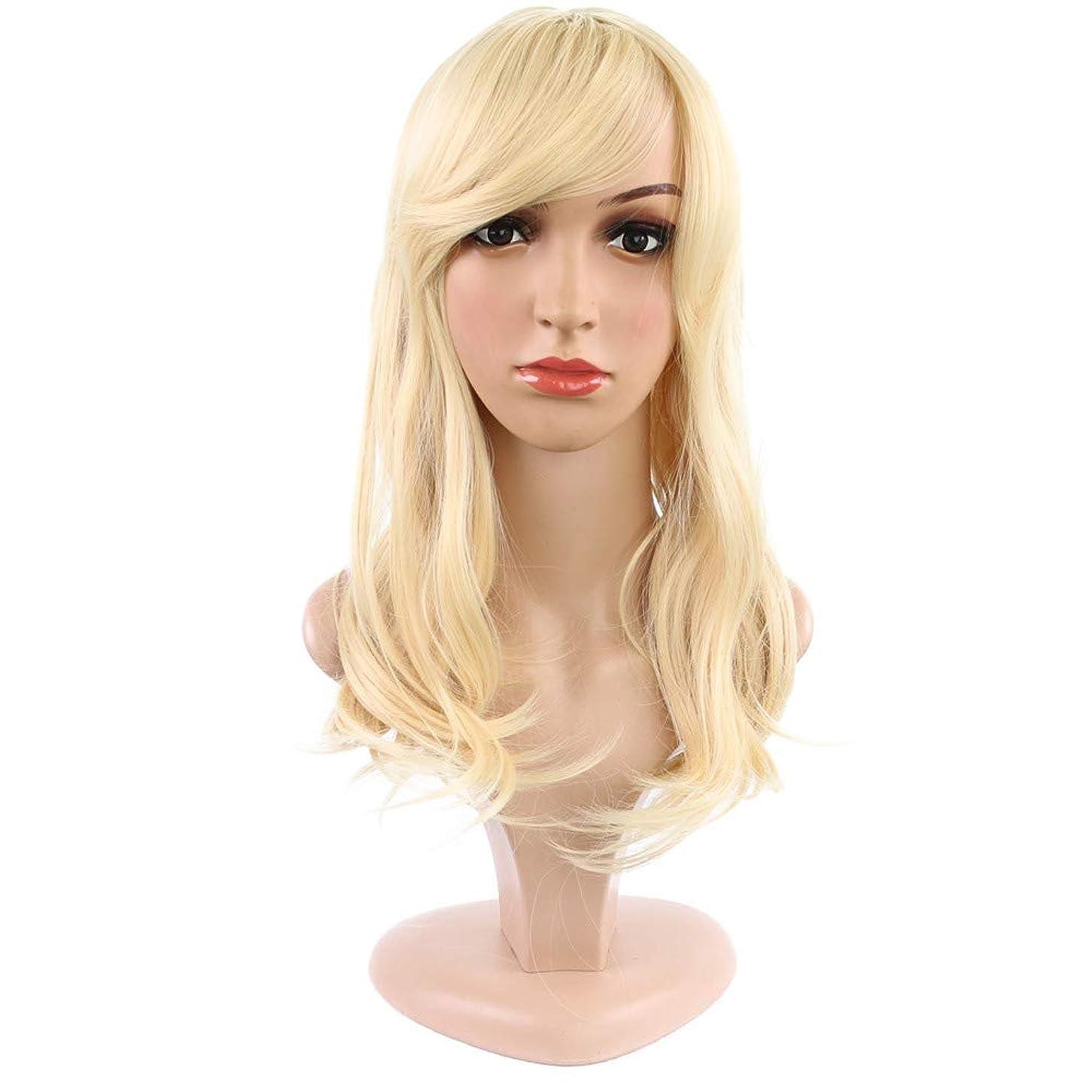 くタイル短くする女性用かつらふわふわのかつらでリアルなかつら長いかつら耐熱かつらライトゴールド43cm