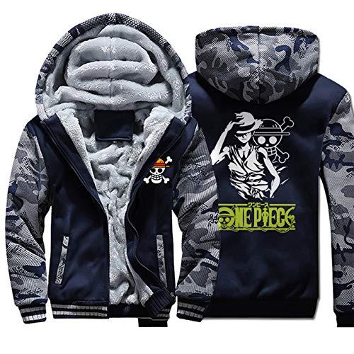 PAPLIU Herren Anime Hoodie ONE Piece Langarm Kapuzenjacke Winterjacke Samt Kapuzenpullover Zip Sweatshirt Cosplay Kleidung Jacke