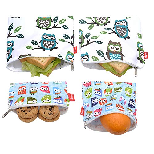 Reusable Sandwich Bags and Eco Friendly Kids Lunch Bags , snack Bags for Food Storage, Safe and Washable (Owl and Owlet)