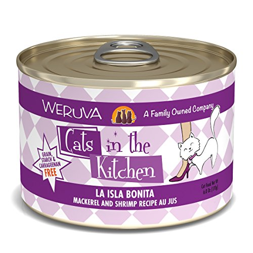 Weruva Cats In The Kitchen, La Isla Bonita With Mackerel & Shrimp Au Jus Cat Food, 6Oz Can (Pack Of 24)