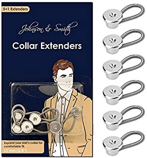 Johnson & Smith Collar Extenders/Neck Extender/Wonder Button for 1/2 Size Expansion of Men Dress Shirts, 5 +1 Pack, 3/8