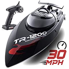 Top Race Remote Control Water Speed Boat TR-1200, Professional RC Boat 30mph speed is equipped with a high power brushless motor and water cooling system. Super powerful and Extremely fast rc boat. Top speed can reach 30 Mph, The Speed can be control...