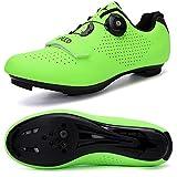 Hombres Bicicleta De Carretera Zapatos De Ciclismo Premium Microtex Zapatos Con Cleat Hombres SPD Zapatos Negro Blanco Hombres Ciclismo Spinning Zapatos, color Verde, talla 41 1/3 EU