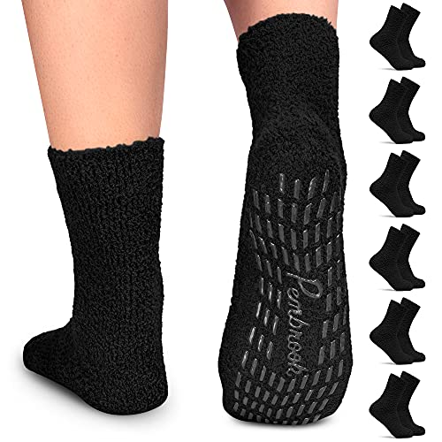 Pembrook Non Skid / Slip Socks – Fuzzy Slipper Hospital Socks (6 - Pairs) – Great for adults,...