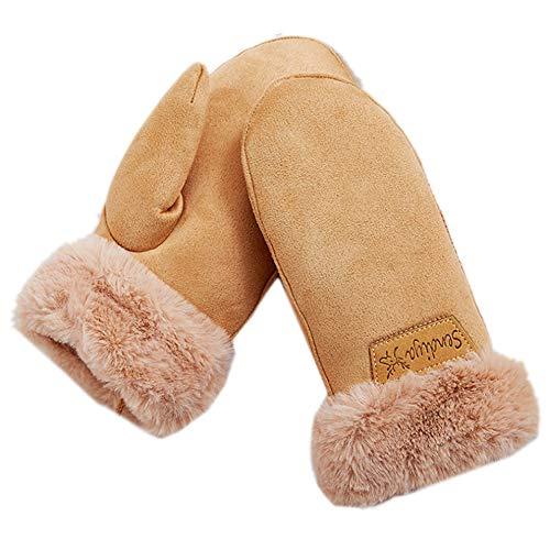 Damenhandschuhe aus Kunstleder, Sherpa-Futter, mit Fellmanschette, warm, mit Hals, lang, winddicht, Fäustlinge - Beige -