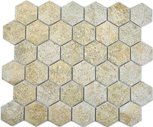 Mozaïektegel keramiek hexagon zeshoekig graniet beige wc keukenachterwand wandbekleding douchebak tegelspiegel badkuipbekleding