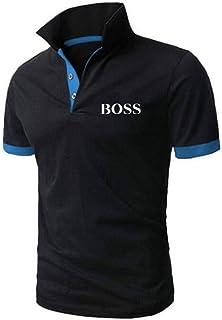 HOSD Summer New Polo de Cuello Alto para Hombre Camiseta de algodón de Manga Corta para Hombre
