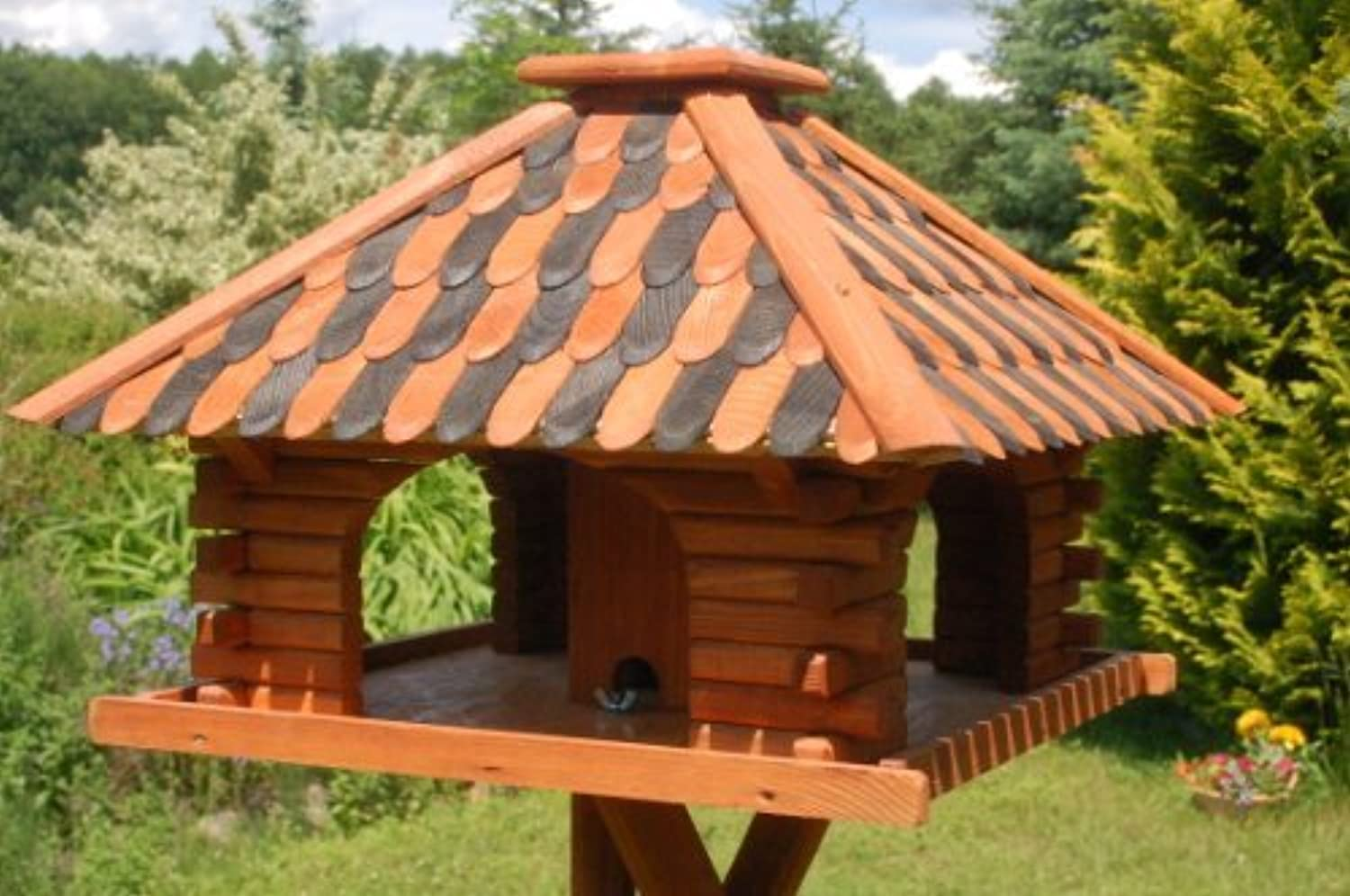 DekoShopHannusch Bird Feeder Deluxe (With Or Without Support Legs) Brown Without Stand