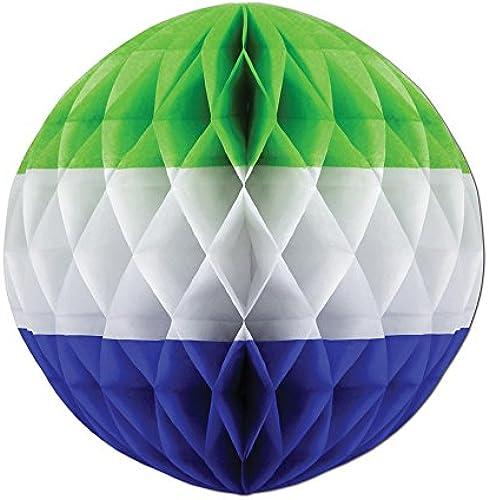 Beistle Party Dekorationen Dreifarbige Tissue Ball Light Grün, Weiß Medium Blau 35,6cm-12 ück