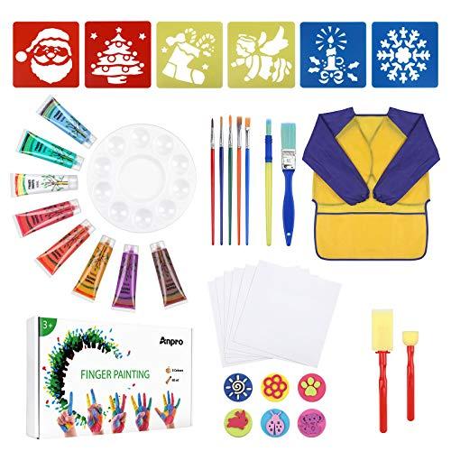 Anpro 38PCS Pintura de Dedos para niños, Pintura de Dedos Lavable, Pintura de 8 Colores, Delantal Impermeable, Tablero de Dibujo de Molde, Papel de Dibujo, Juego de Pintura de Paleta