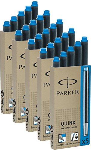 Parker Tintenpatrone Quink 5 Packungen mit gesamt 25 Stück, königsblau