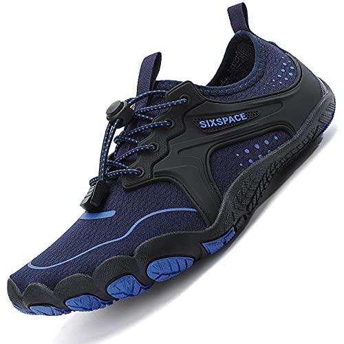 Sixspace Unisex Badeschuhe Barfuß-Softschuhe mit Weich Dicke Sohle Atmungsaktive Tragbare Laufschuhe Trailrunning-Schuhe Fitnessschuhe Sportschuhe Dunkelblau(44 EU)