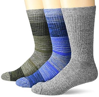 Merrell Men's Wool Blend Cushioned Hiker Crew Socks 3 Pair, Blue, Grey, Olive Green, M/L