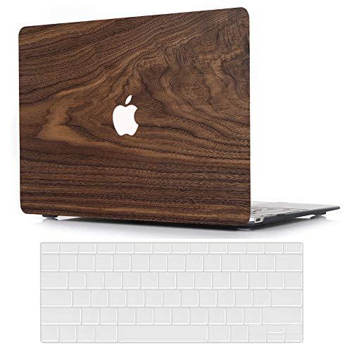 AJYX MacBook Pro 13 Hülle 2020 2019 2018 2017 2016, Plastik Hartschale Tasche + EU Tastaturabdeckung für MacBook Pro 13 Zoll (Modell: A2289 A2251 A2159 A1989 A1706 A1708) - Holzmaserung