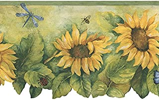 BG71361DC Country Sunflower Insects Floral Wallpaper Border