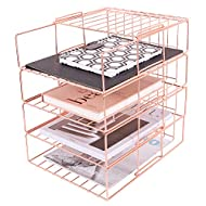 Hosaken Paper Tray, 4 Tier Stackable File Tray, Decorative Desk File Organizer Rack for Office Supplies and Accessories, 0.16Inch Thick Frame Rose Gold